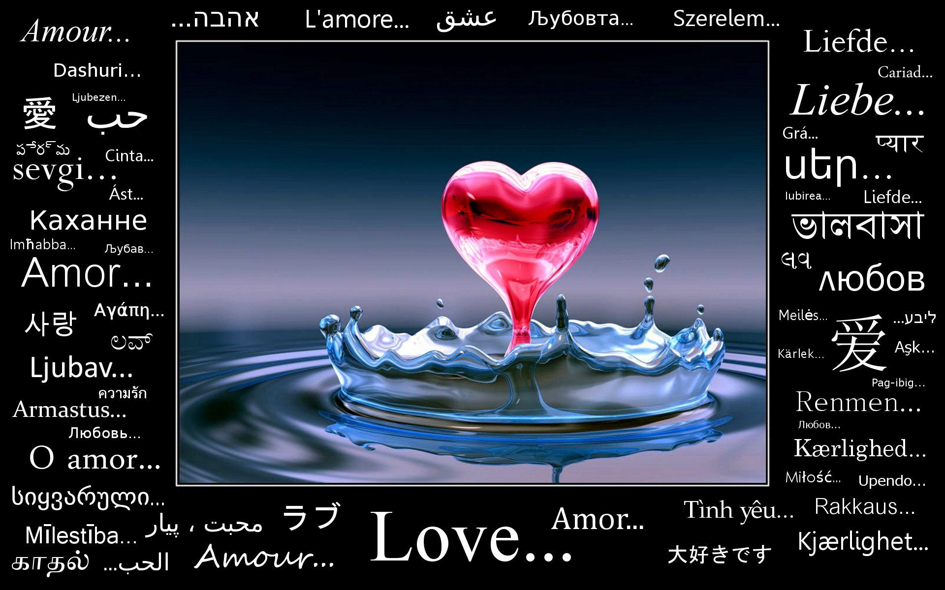 Water Blue Love Red Text Drop Quotes Water Drops Hearts