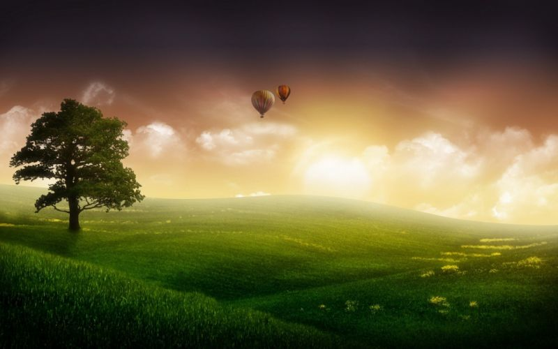 landscapes hot air balloons wallpaper