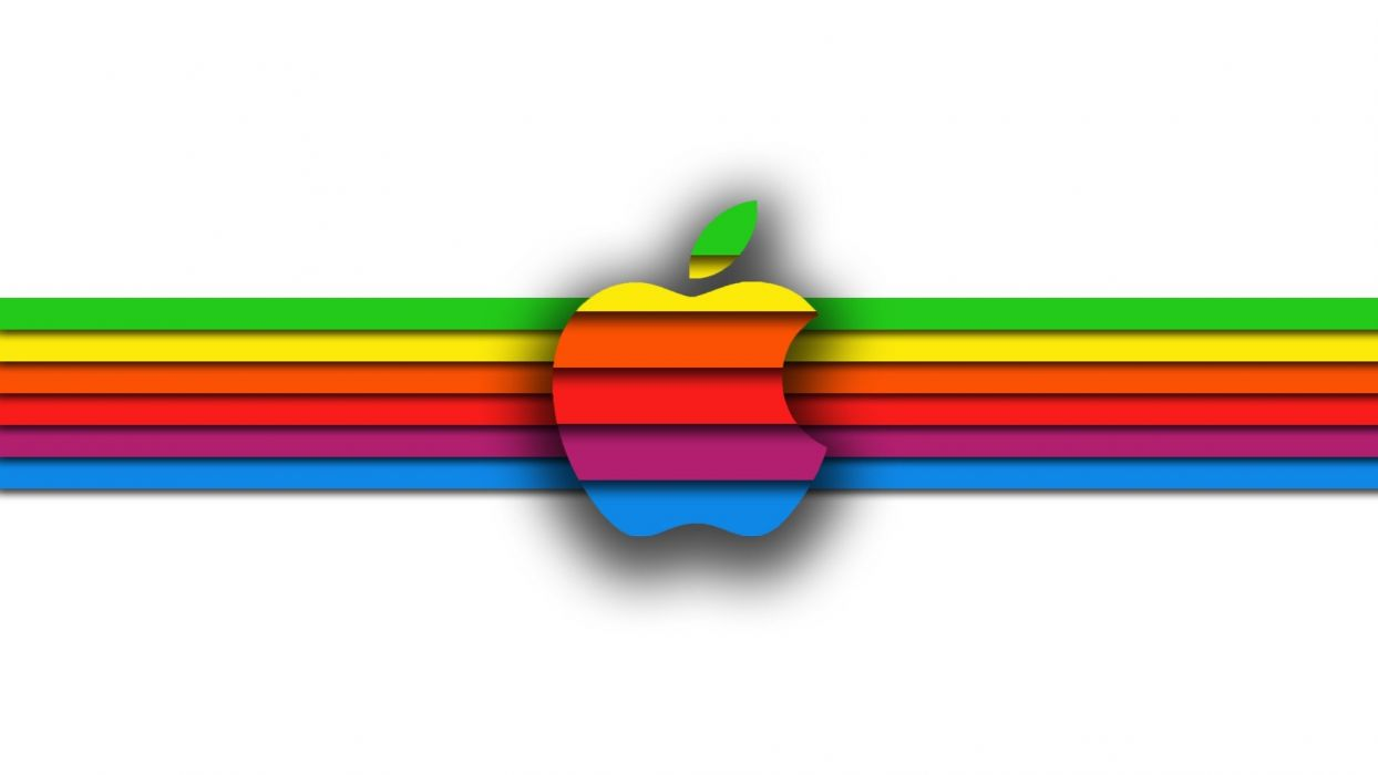 abstract minimalistic multicolor logos colors apple world Apple wallpaper