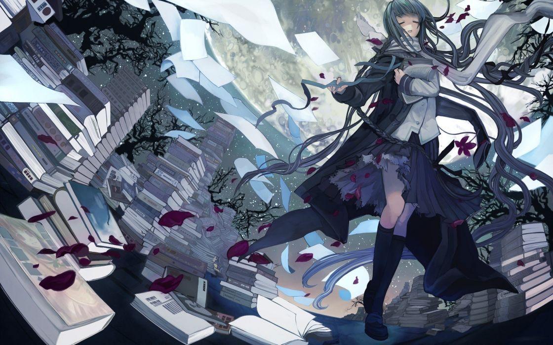 blue hair fantasy art Bungaku Shoujo wallpaper
