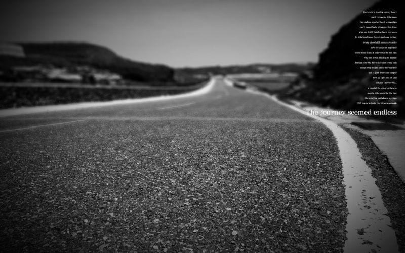 black song roads monochrome wallpaper