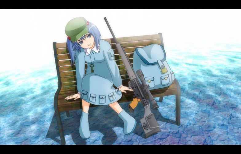 video games Touhou guns blue eyes weapons blue hair sniper Kawashiro Nitori hats backpacks PSG-1 wallpaper