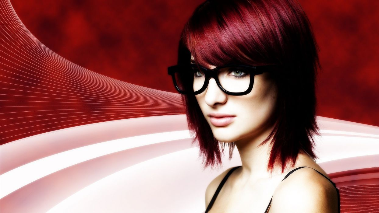 women Susan Coffey blue eyes redheads models glasses girls with glasses wallpaper