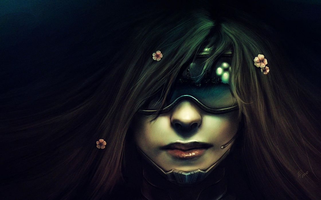 women flowers futuristic glasses long hair cyberpunk masks artwork Neuromancer wallpaper