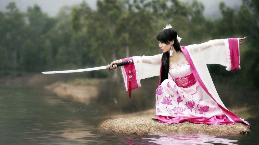 brunettes women models Asians Japanese clothes swords wallpaper