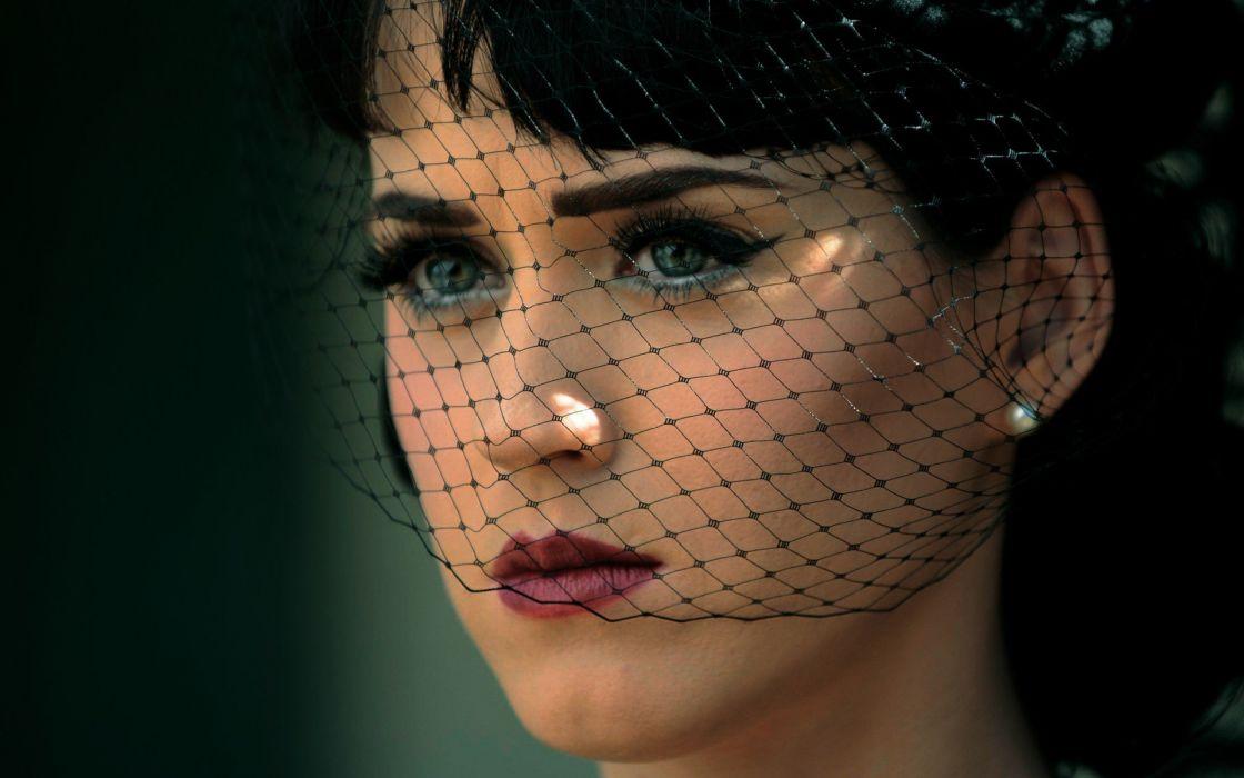 women Katy Perry lips green eyes elegance wallpaper