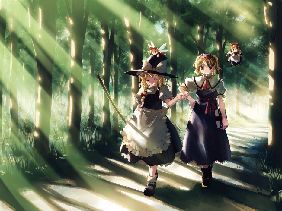 Touhou forests Kirisame Marisa Alice Margatroid witches Yuuki Tatsuya wallpaper