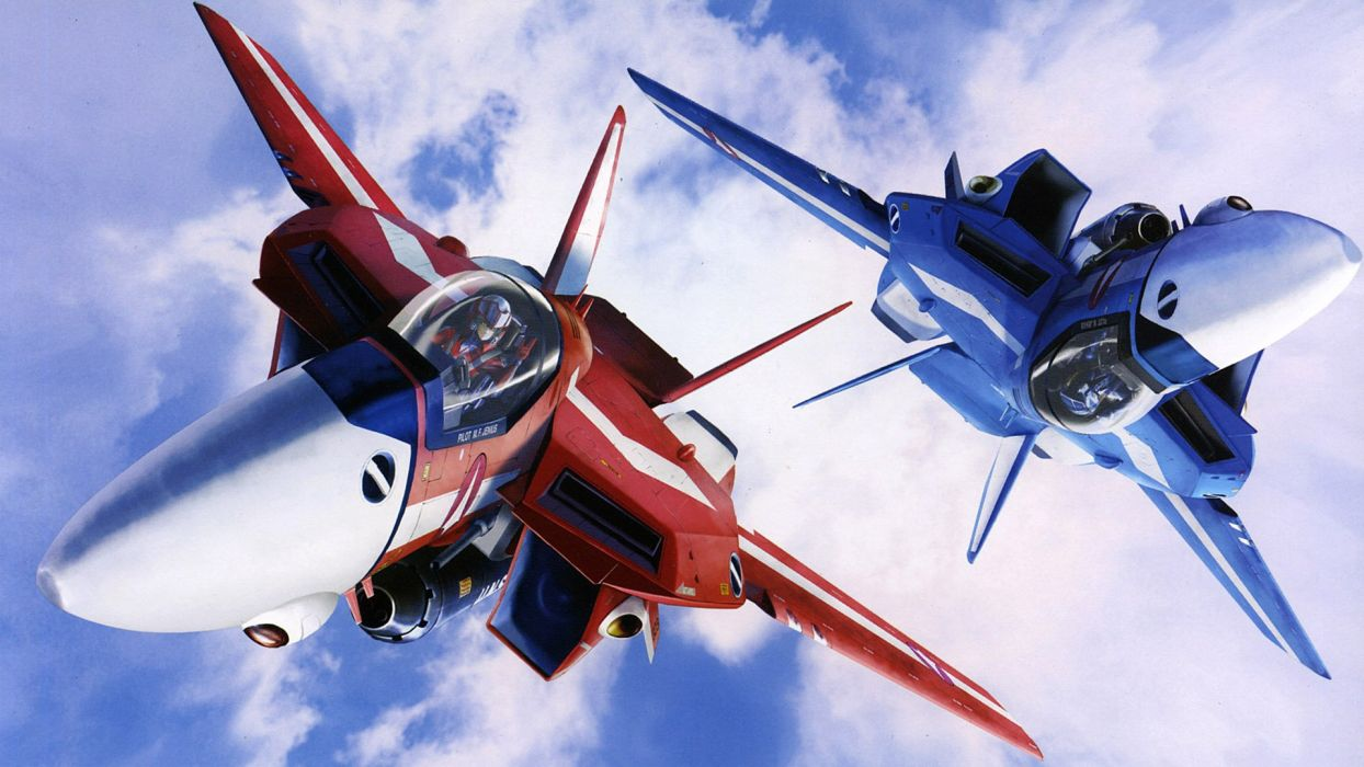 blue clouds aircraft Macross red military anime skies wallpaper