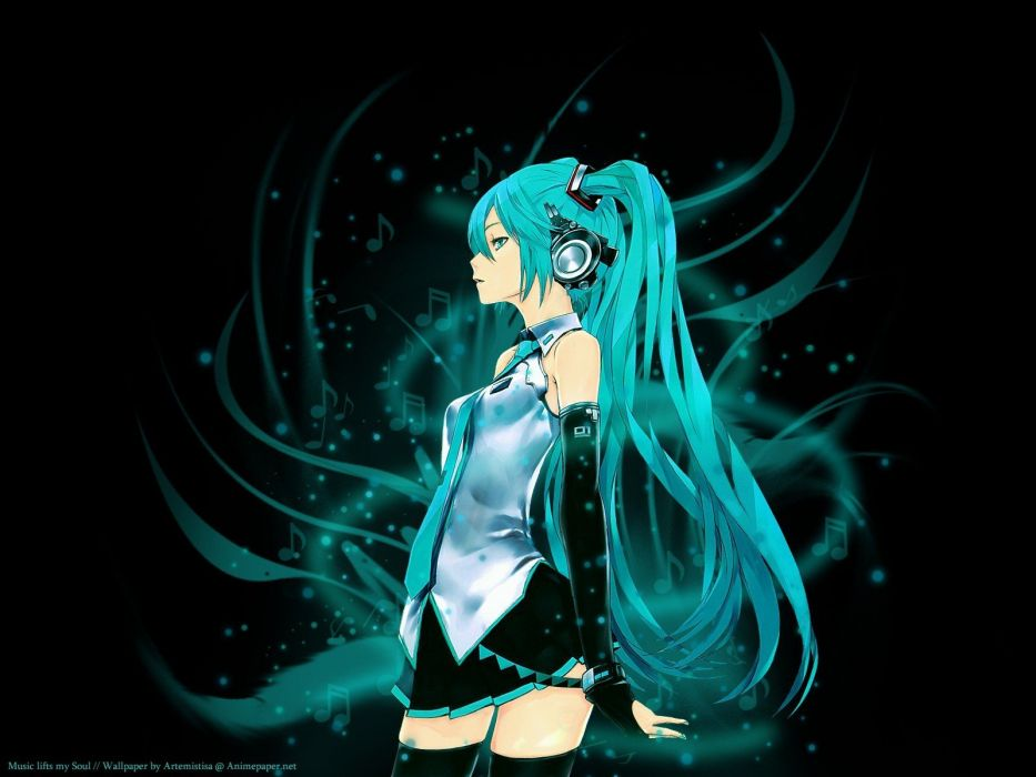 headphones music Vocaloid Hatsune Miku long hair soul teal aqua hair Redjuice artists wallpaper