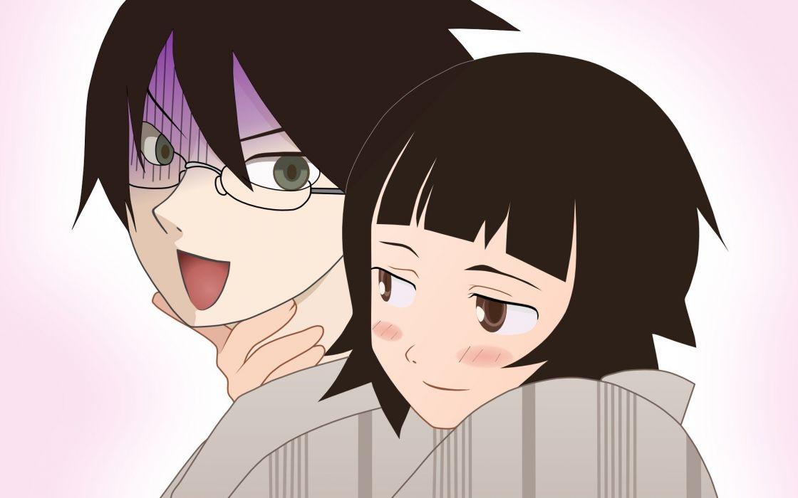 Sayonara Zetsubou Sensei Itoshiki Nozomu simple background Zetsubou black hair Tsunetsuki Matoi wallpaper