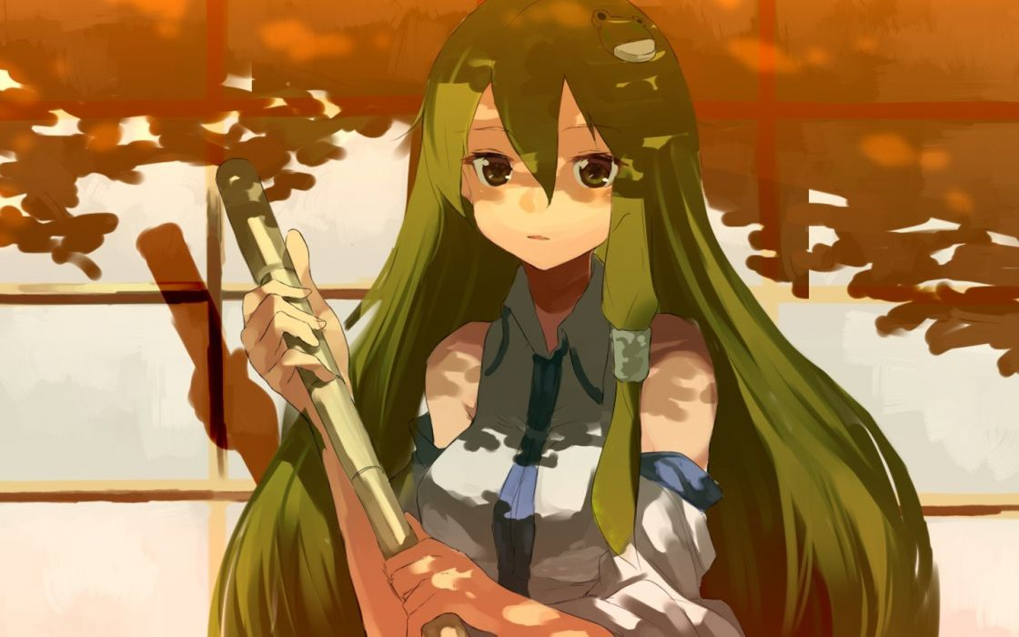 video games Touhou long hair green hair Kochiya Sanae anime girls wallpaper