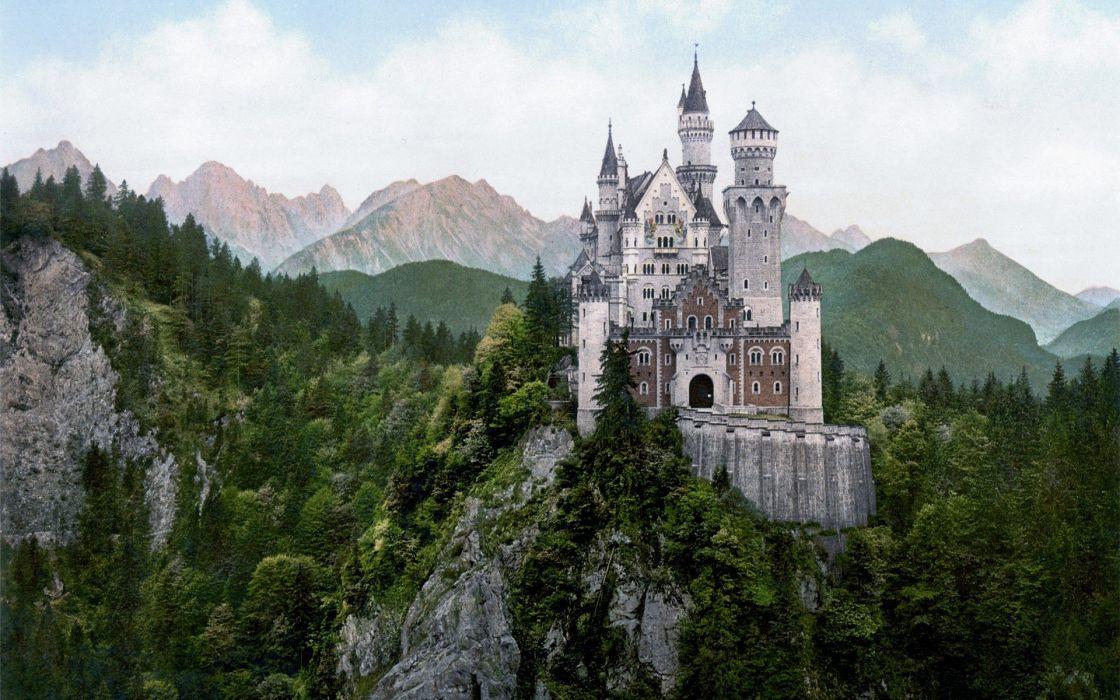 mountains castles buildings wallpaper