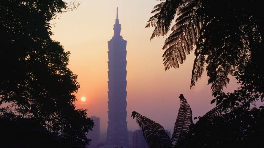 mountains Taiwan Taipei 101 wallpaper