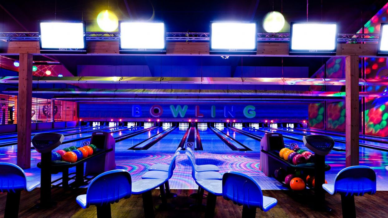 bowling entertainment bowling ball bowling lane black lighting wallpaper