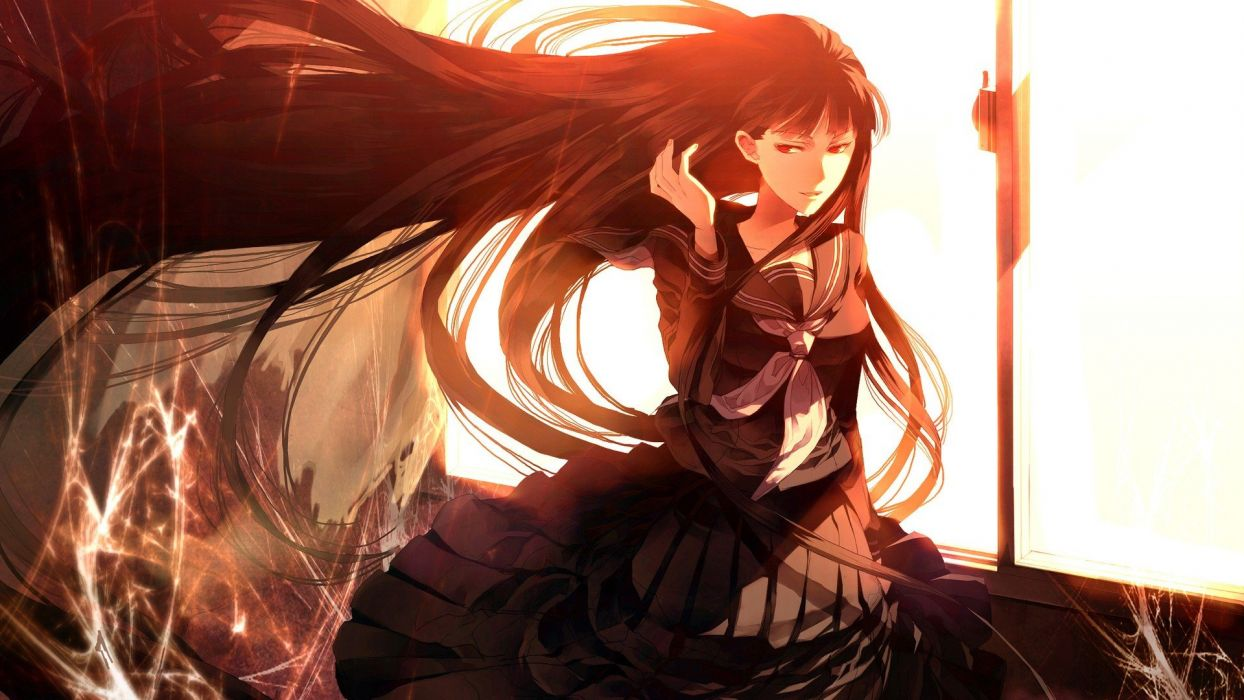 school uniforms long hair red eyes smiling anime girls looking back wallpaper