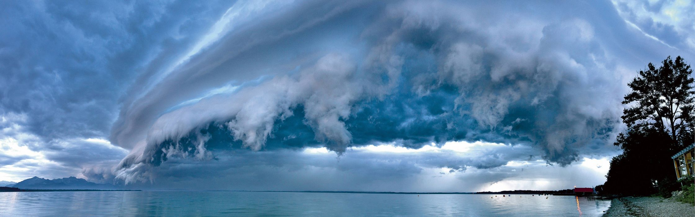 clouds Germany Bavaria panorama overcast skyscapes sea wallpaper