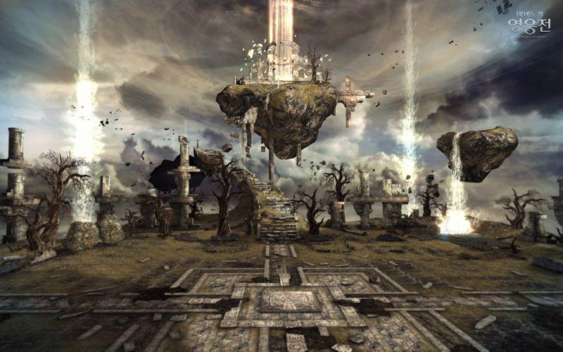 ruins floating Vindictus Nexon Games Mabinogi Heroes wallpaper