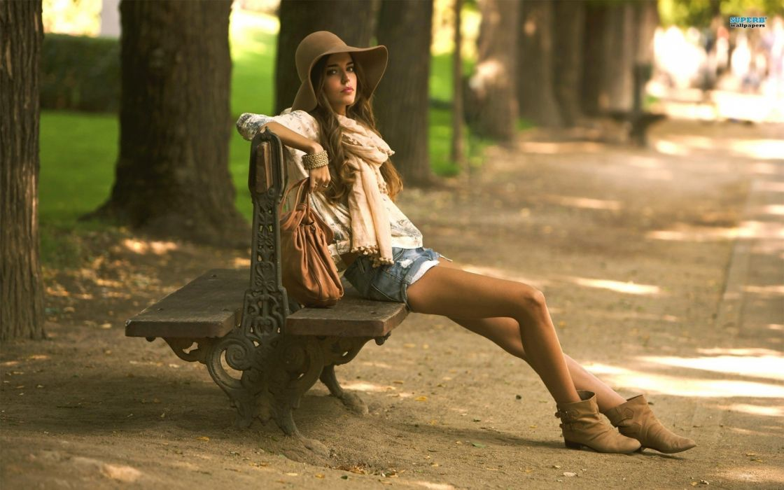 brunettes women bench flipped Clara Alonso denim shorts wallpaper