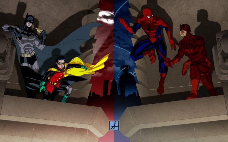 Batman Robin DC Comics comics Spider-Man Daredevil Marvel Comics wallpaper