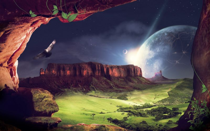 landscapes nature science fiction photo manipulation wallpaper