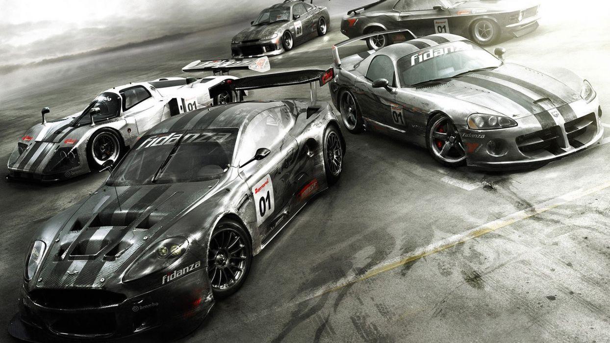cars Aston Martin CGI viper Dodge Ford Mustang Nissan Silvia side view American cars wallpaper