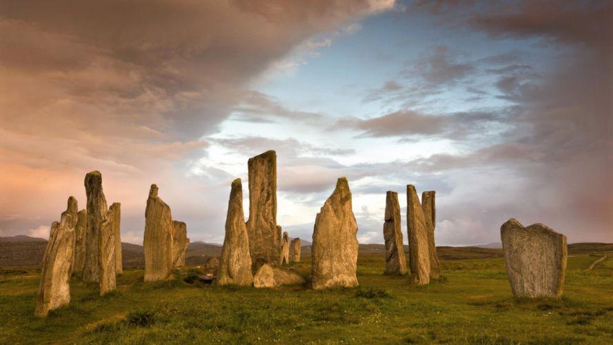 dawn stones Scotland standing Isle of Lewis wallpaper