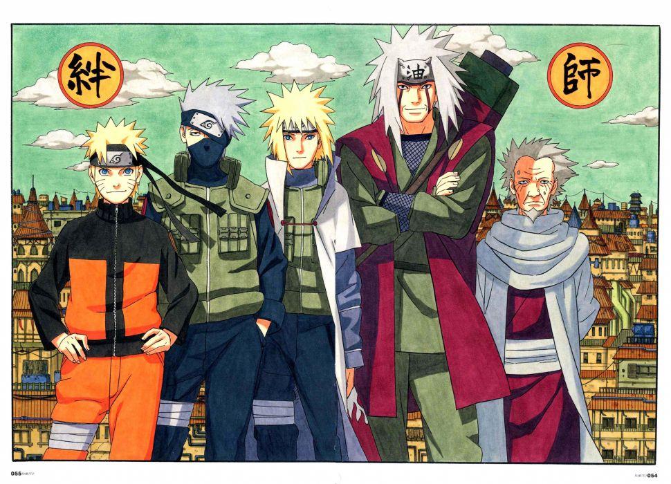 Naruto: Shippuden Yondaime Sarutobi Hiruzen Uzumaki Naruto Kakashi Hatake Jiraiya wallpaper