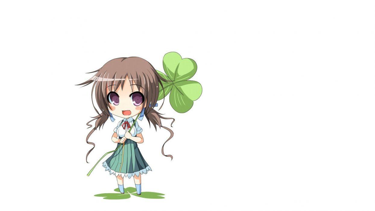 brunettes chibi clover simple background anime girls wallpaper