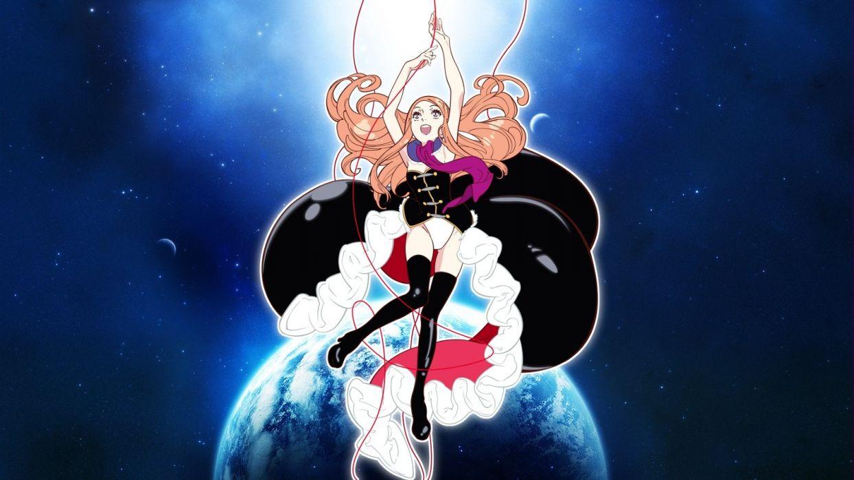 blondes panties outer space dress stars planets Earth scarfs Mawaru Penguindrum Takakura Himari wallpaper