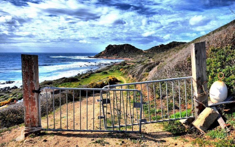 clouds landscapes nature coast gate sea beaches wallpaper