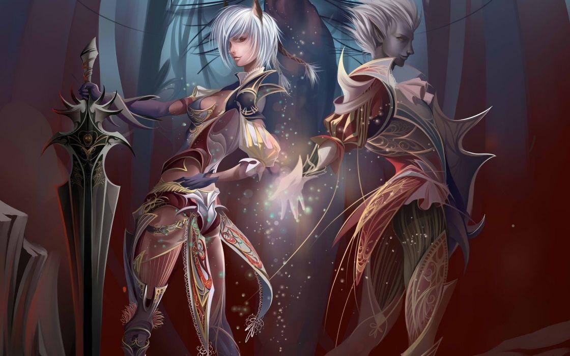 video games lights fantasy art armor magic elves artwork Lineage 2 swords wallpaper