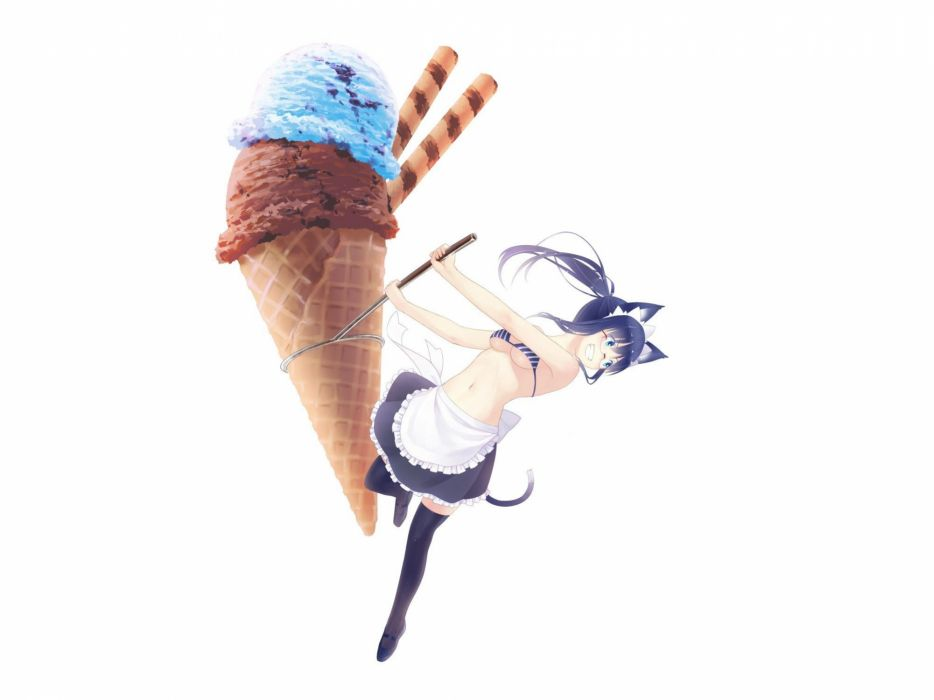 brunettes tails dress maids blue eyes ice cream glasses long hair animal ears simple background wallpaper