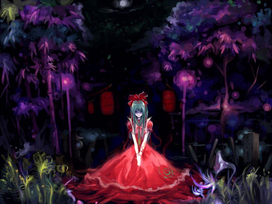Touhou red dress Kagiyama Hina wallpaper
