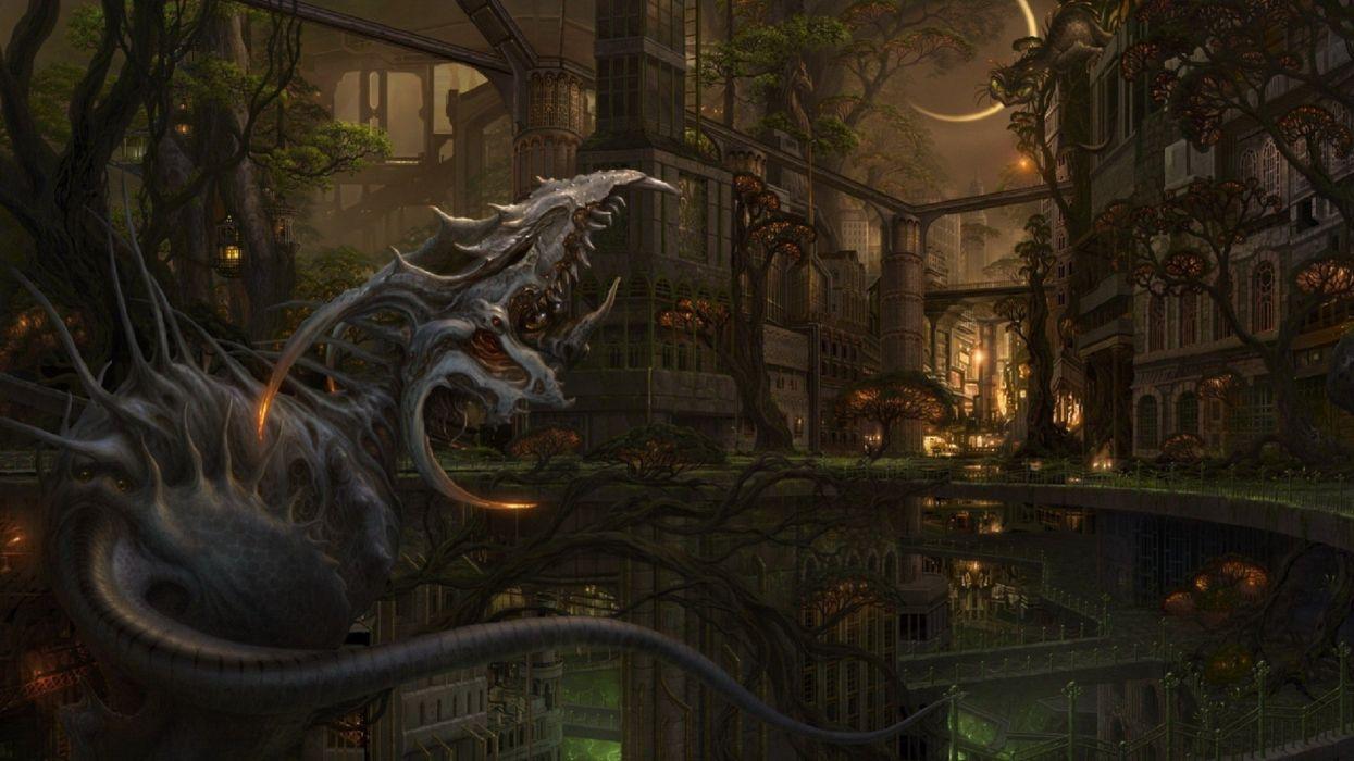 trees fantasy art towns creatures wallpaper