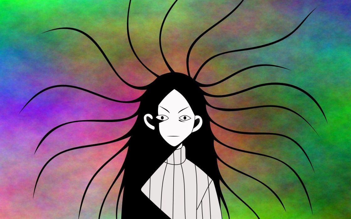 creepy Sayonara Zetsubou Sensei multicolor long hair selective coloring anime girls black hair Kitsu Chiri wallpaper
