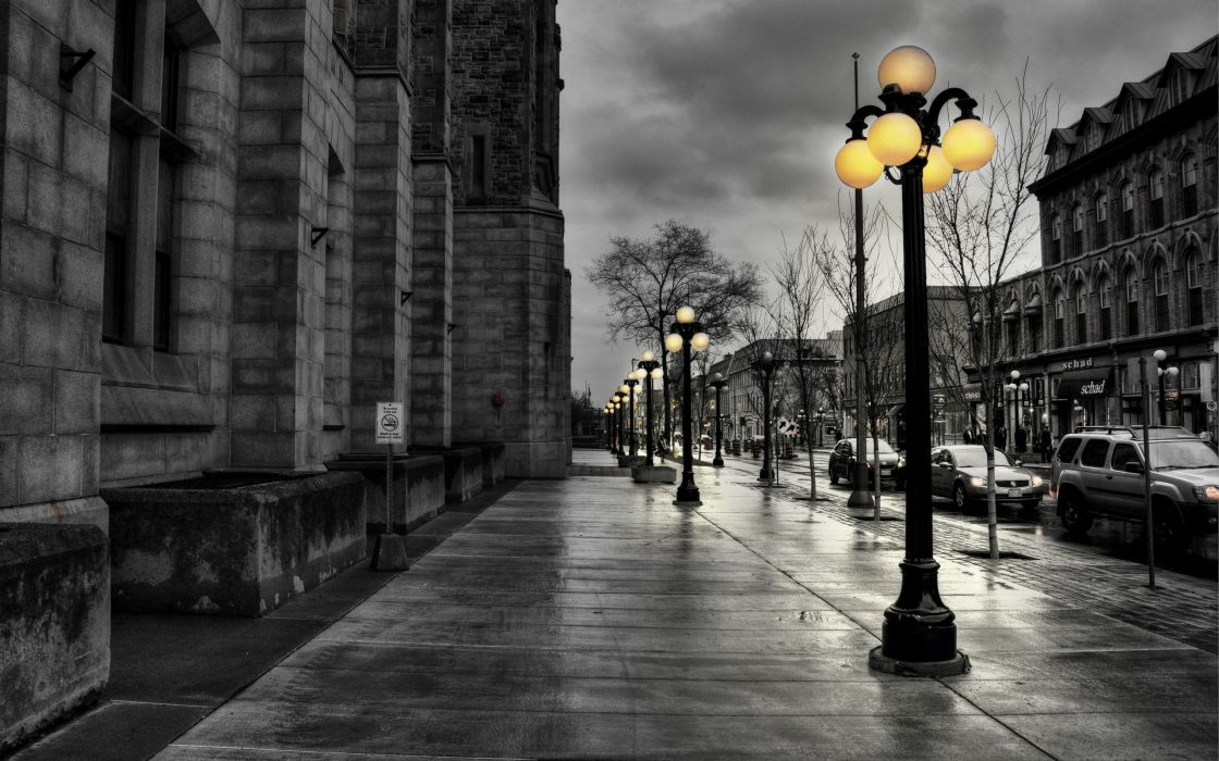 cityscapes streets lanterns HDR photography selective coloring wallpaper