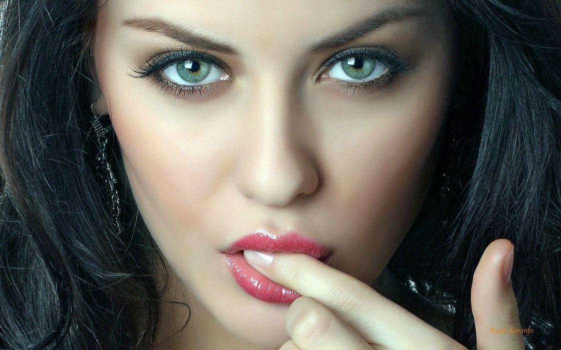women blue eyes models faces black hair fingers on lips wallpaper