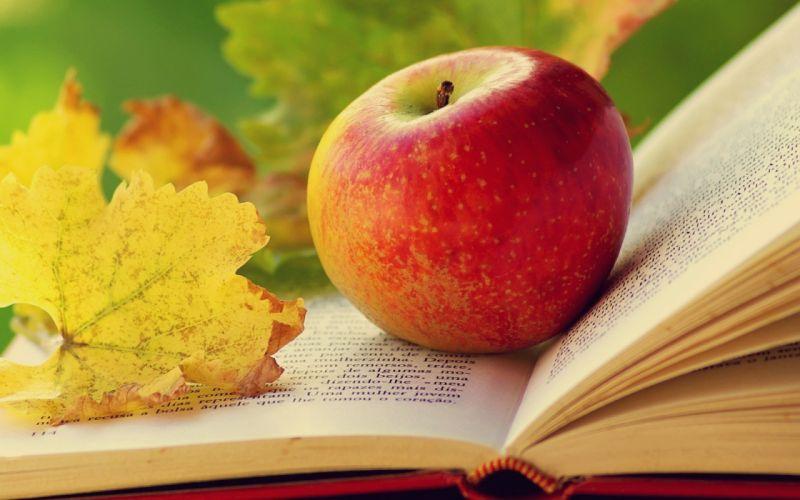 leaves books apples wallpaper