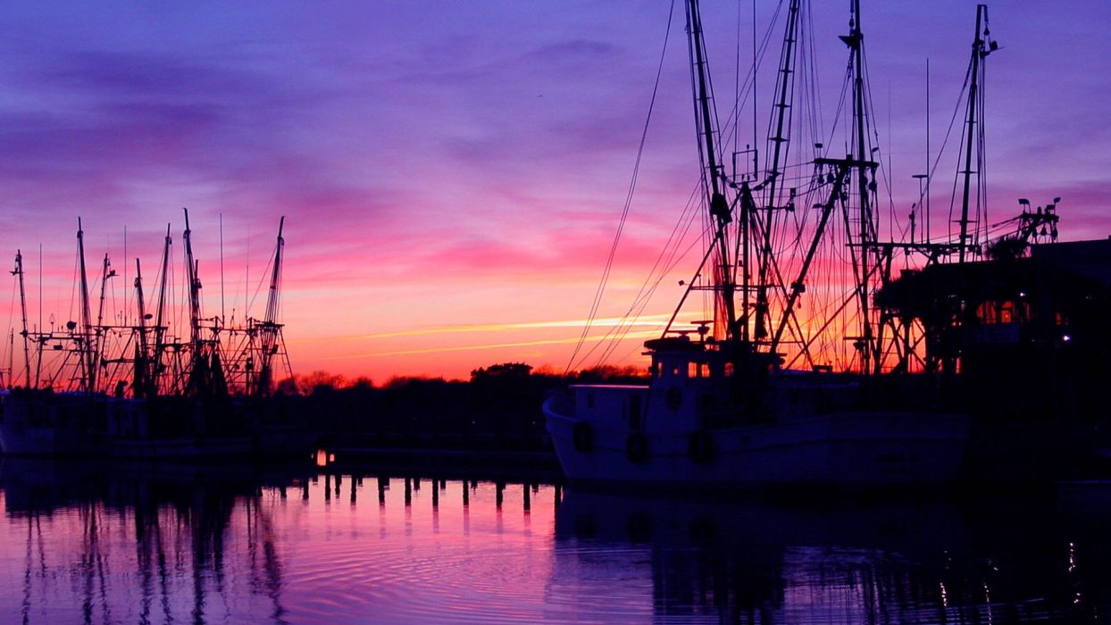 water sunset boats reflections harbours wallpaper
