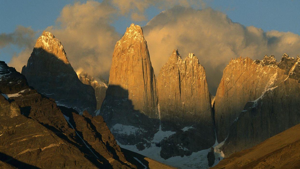 Chile sunrise peaks Paine wallpaper