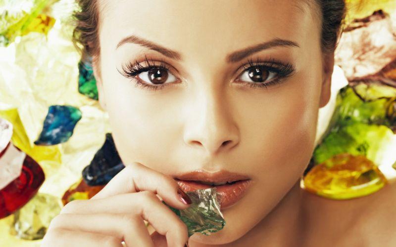 women eyes brown eyes faces wallpaper