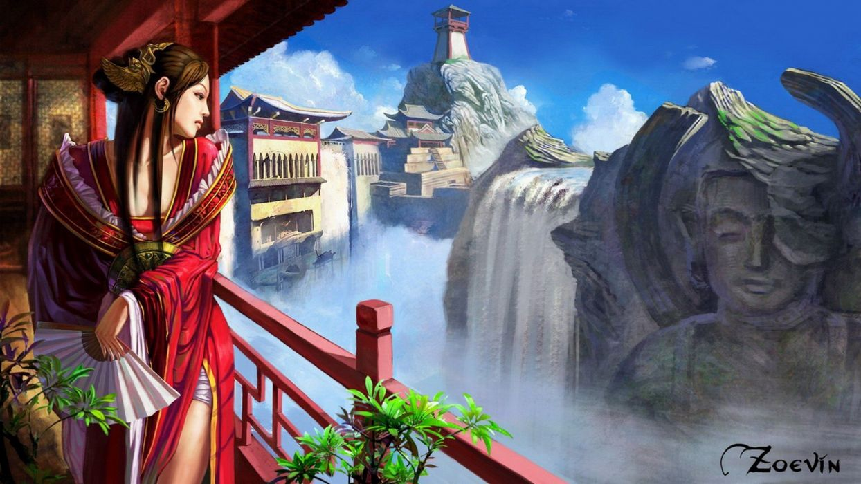 landscapes fantasy art digital art artwork anime anime girls wallpaper