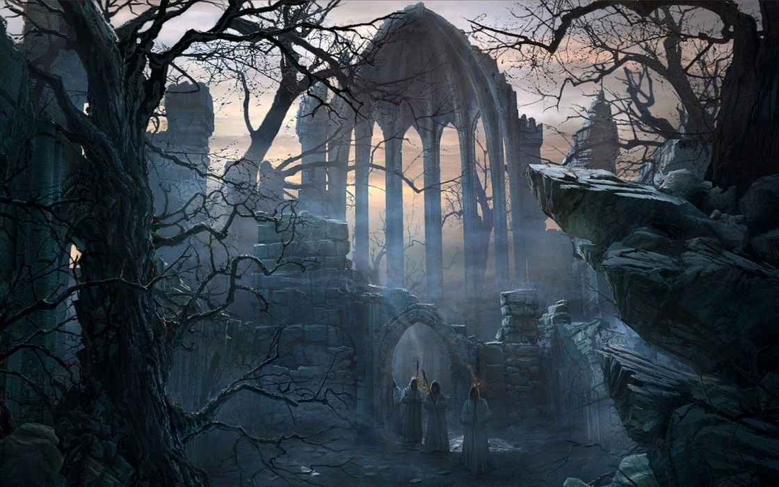 trees ruins night Raphael Lacoste wallpaper