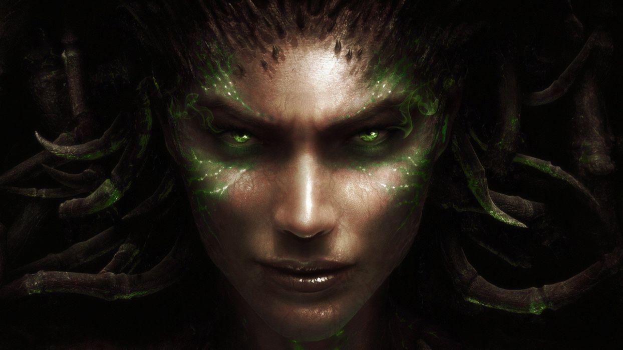 women video games StarCraft Blizzard Entertainment Starcraft II: Heart of the Swarm Sarah Kerrigan Queen Of Blades StarCraft II faces portraits wallpaper