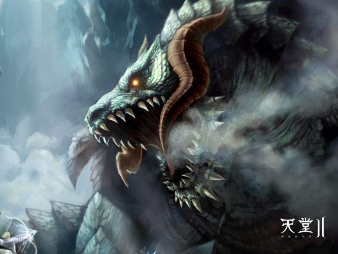 video games clouds caves dragons fog archers boss elves Boss Battle artwork MMO MMORPG Lineage 2 Antharas wallpaper