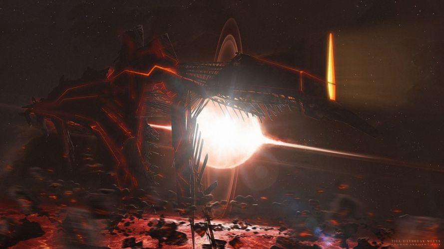 lights spaceships science fiction asteroids Kuldar Leement wallpaper