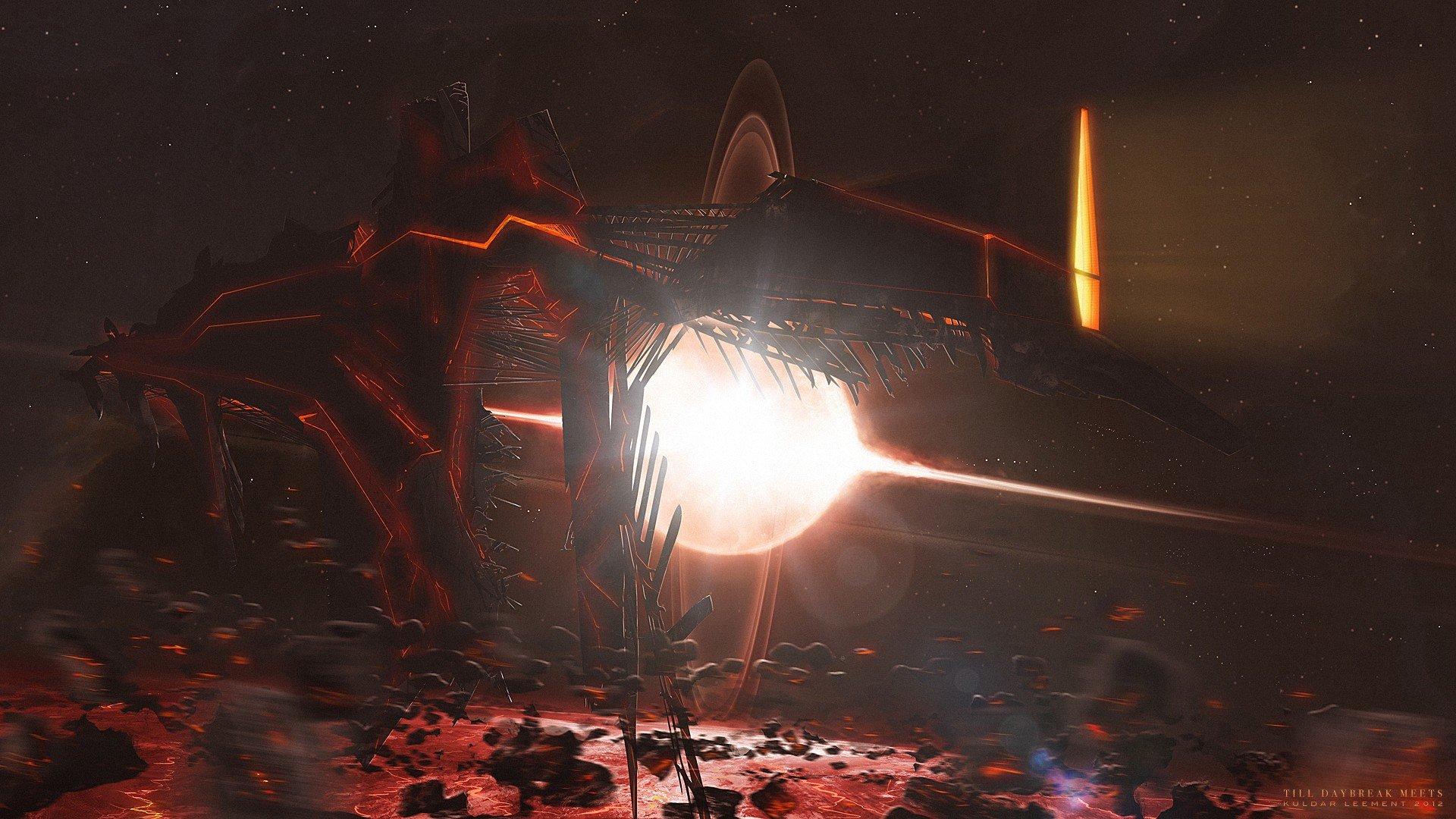 Lights spaceships science fiction asteroids Kuldar Leement ...