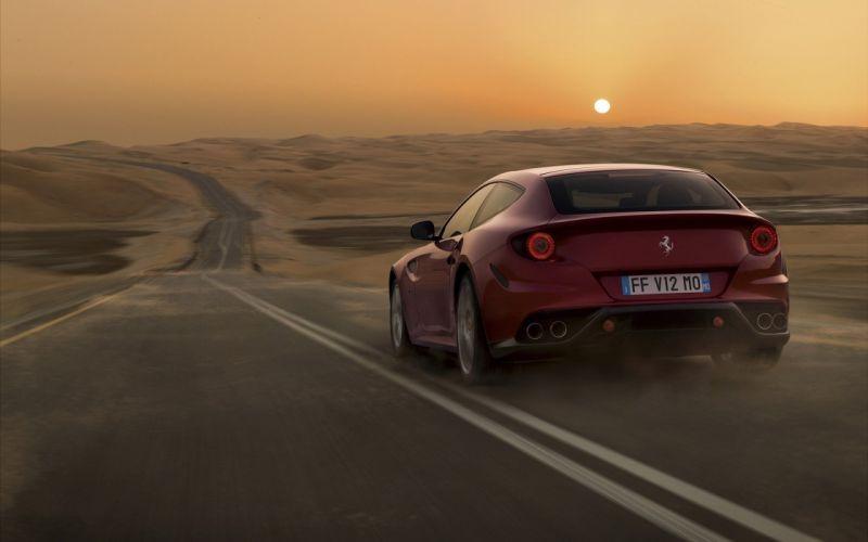 sunset landscapes sand cars deserts Ferrari roads vehicles red cars Ferrari FF wallpaper