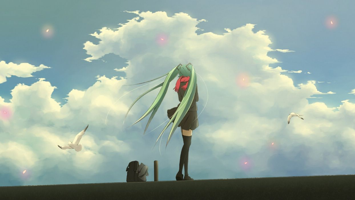 Vocaloid Hatsune Miku skirts thigh highs twintails scarfs aqua hair wallpaper