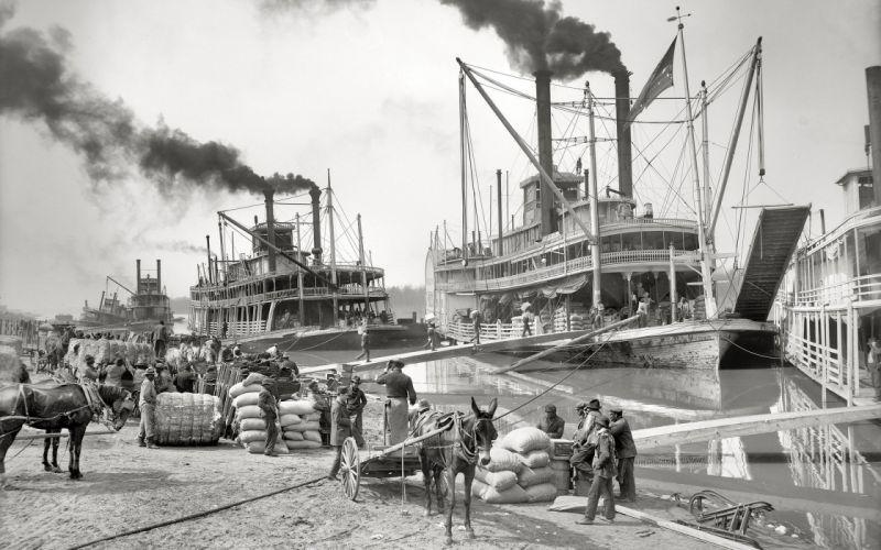 vintage ships monochrome steamboat wallpaper